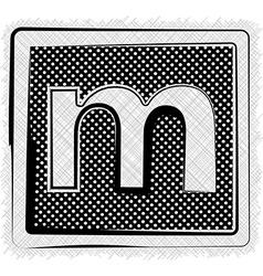 Polka dot font letter m vector