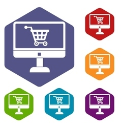 Purchase at online store icons set vector