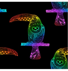 Seamless pattern made from gradient rainbow toucan vector