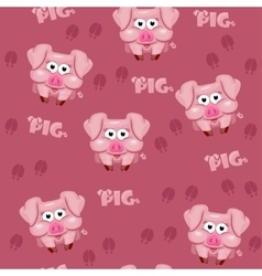 Seamless pattern square cartoon pig vector image