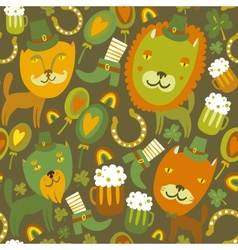 Seamless StPatricks day pattern with cats vector image