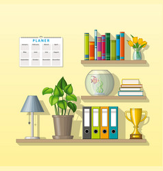 Some shelves with utensils vector