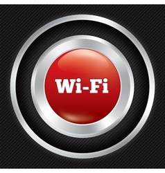 Wi-fi button metallic wifi icon on carbon fiber vector
