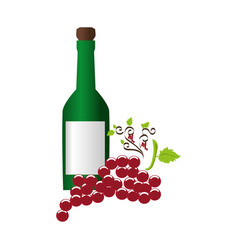 wine bottle with cork and bunch of grapes vector image vector image