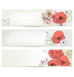 Floral headers Cute flowers banner set vector image