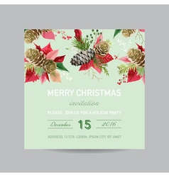 Christmas invitation pine and poinsettia card vector