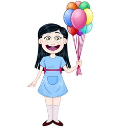 Girl holding colorful balloons vector