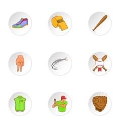 Baseball sport icons set cartoon style vector image
