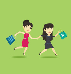 people running in hurry to the store on sale vector image
