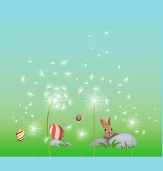 Happy easter eggs spring background with white vector