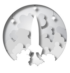 Space rocket launch startup paper cut style vector