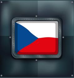 Czech republic flag on square frame vector