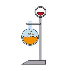 Color image cartoon lab setup with glass circular vector
