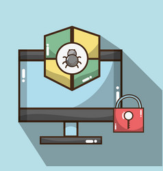 Television with shield and padlock symbols icons vector