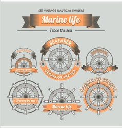 Set vintage nautical emblem vector