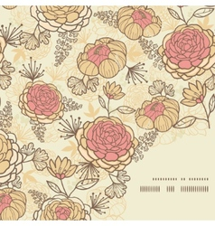 Vintage brown pink flowers frame corner pattern vector