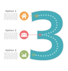 Design template with three options vector