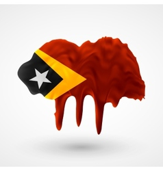 Flag of east timor painted colors vector