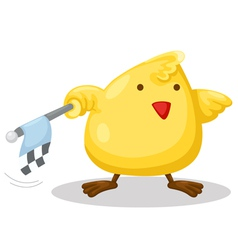 Chick with checkered flag vector
