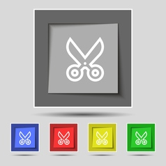 Scissors icon sign on original five colored vector