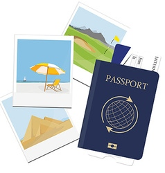 Passport ticket polaroid picture vector
