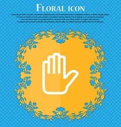 Hand print stop floral flat design on a blue vector