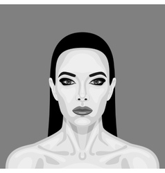Black and white vampire woman retro cartoon vector