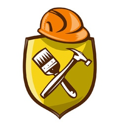 Construction shield symbol vector