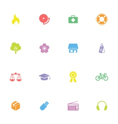 Colorful simple flat icon set 6 vector