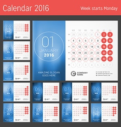Calendar for 2016 year design print template week vector