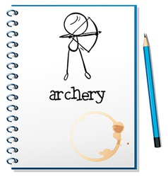 A notebook with an archery design vector image