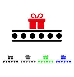 Baggage transportation conveyor flat icon vector