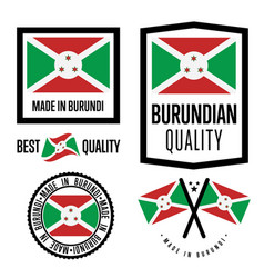 Burundi quality label set for goods vector