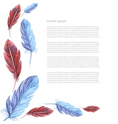 Card template watercolor feathers vector