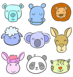 Collection stock of animal colorful doodles vector