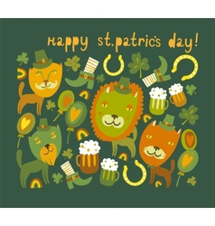 Cute StPatricks day background with cats vector image