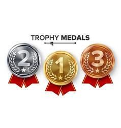 gold silver bronze medals set metal vector image
