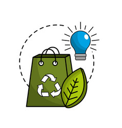green bag with recycle sign bulb and leaf vector image