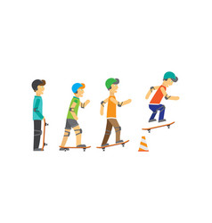 group of skateboarders vector image vector image