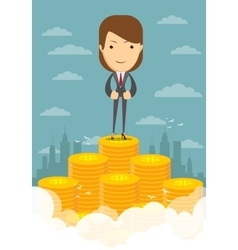 Happy businesswoman raising from pile of money vector