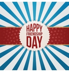 Happy friendship day emblem on red ribbon vector
