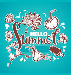 Hello summer tropical background with palm vector