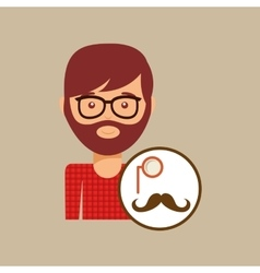 hipster concept mustache and monocle man vector image