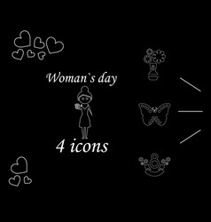 i love you womens doodle 4 icon in set of womens vector image vector image