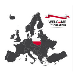 Map of europe with the state of poland vector
