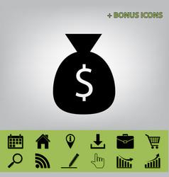 Money bag sign black icon at vector