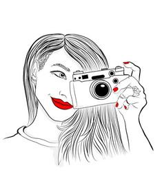 Monochrome beautiful girl vector