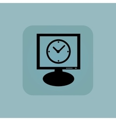 Pale blue clock monitor icon vector