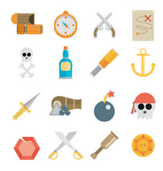pirate accessories symbols flat icons collection vector image vector image
