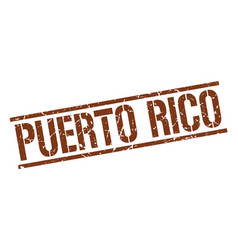 Puerto rico brown square stamp vector